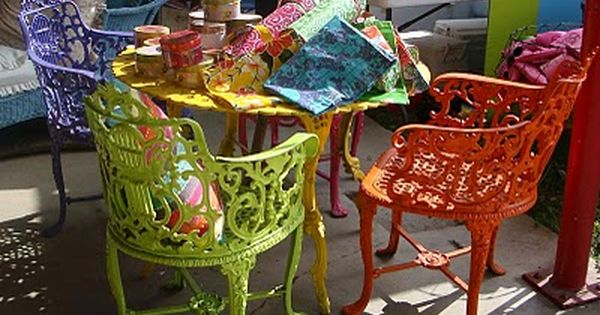 Love The Bright Colored Chairs Repurposed And Painted