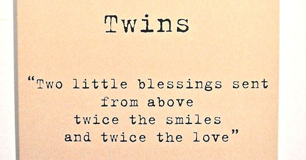 Twins Two Little Blessings Card Peach Twins