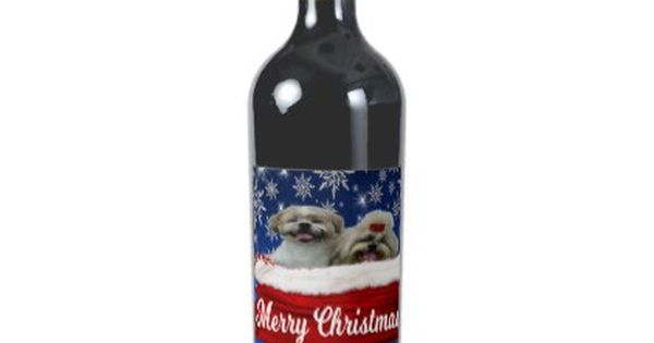 Shih Tzu Wine Bottle Christmas Wine Label Zazzle Com Christmas Wine Label Christmas Wine Christmas Wine Bottles