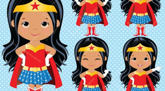 African American Wonder Woman Clipart Superhero Girls Etsy Girl Superhero Wonder Woman Birthday Wonder Woman Birthday Party