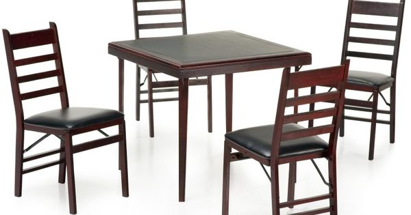 Cosco 5 Piece Bridgeport 32 Inch Wood Folding Card Table