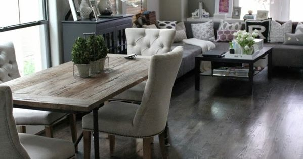 Living Room Decorating Ideas on a Budget - Living Room Design Ideas, Pictures, Remodels and Decor Veronika's Blushing: Rustic contemporary dining/living room combination.