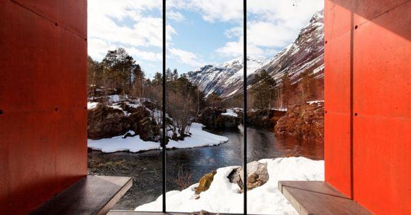 Juvet River Sauna, located near the Juvet Landscape Hotel, in Gudbrandsjuvet, Norway.