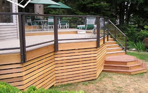 Horizontal 1x3s for a screen under the deck clean calm for Construire deck piscine
