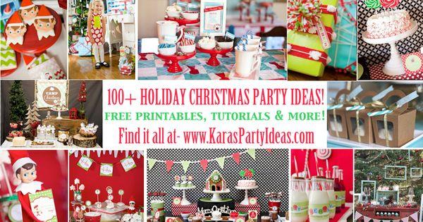 100 + Christmas Party Ideas! Free printables, tutorials more! Via www.KarasPartyIdeas.com