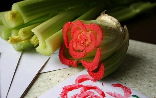 Mother's Day celery roses. Great craft idea for kids.