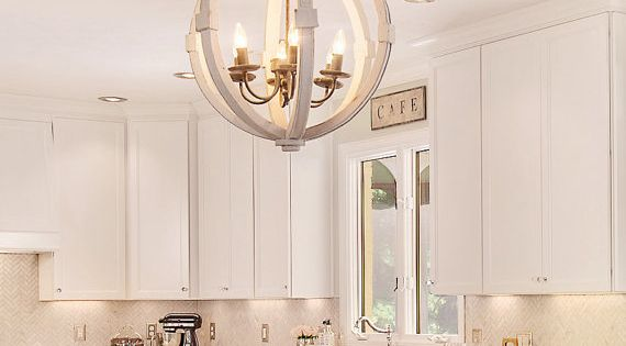 Antiqued White Distressed Cottage Wood Orb Chandelier Pendant Shabby Chic French Country Custom