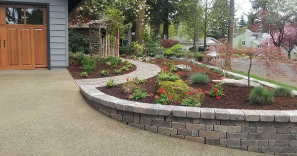 Landscaped Yard With Curved Paver Sidewalk Amp Retaining