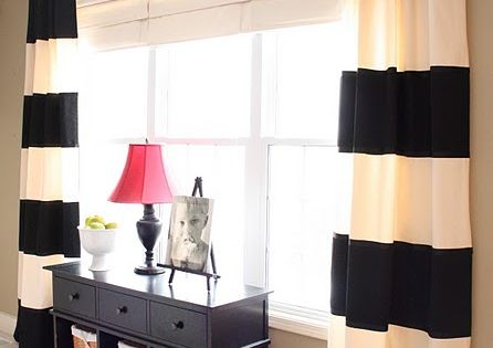 Easy bold stripe curtains DIY and lots of other DIY projects
