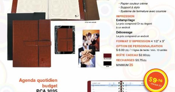 PCA-3676-Journal Du0027entreprise- 3035-Agenda quotitien budget- http - format for an agenda
