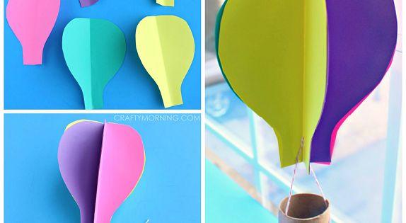 What an amazing summer craft! - Spinning 3D Hot Air Balloon Craft