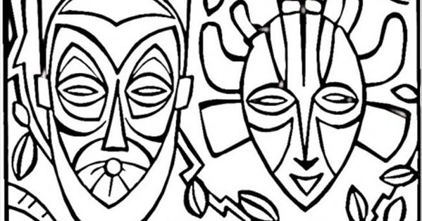 coloring pages african mask  countries  u0026gt  africa