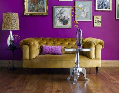 Bohemian living room - great color- love this saturated shade of purple