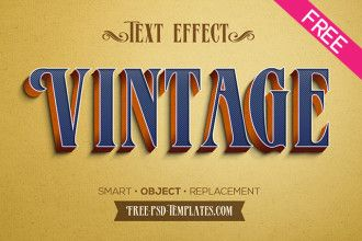 Free 5 Retro Vintage Text Effects In Psd Retro Text Psd Template Free Mockup Free Psd