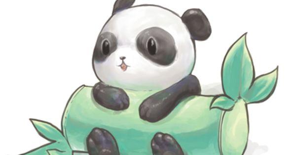 Cute Panda With Bamboo Log Bigger Than He Is Cute Drawings Tumblr Cute Panda Drawing Cute Animal Drawings