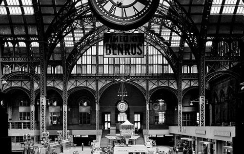 Great Train Station Old Penn Station Circa 1910 Large Benrus Sponsored Clock Overlooks The