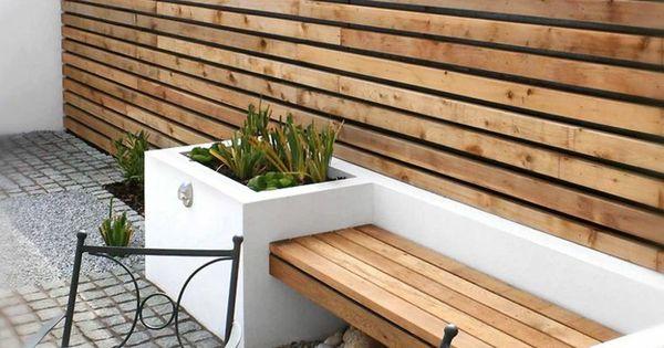 Conjunto de valla y banco de madera de teca terrazas - Bancos para terraza ...