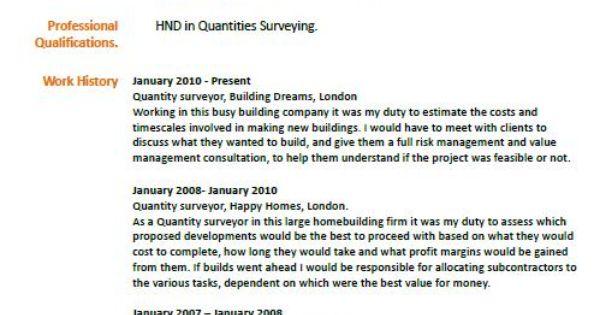 quantity surveyor cv example