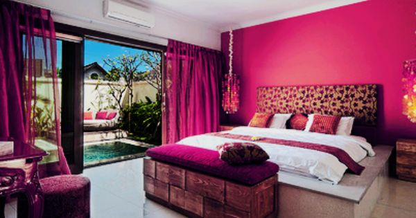 Perfect Girls Room With Hot Pink Wall And Curtains. Extra Storage At The End Of Bed