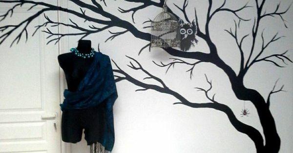 streichideen schwarz w nde wandtattoo baum homes pinterest w nde streichen wanddekoration. Black Bedroom Furniture Sets. Home Design Ideas