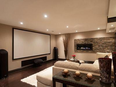 Modern Spacious Home Cinema Room Design Ideas With Grey Comfy