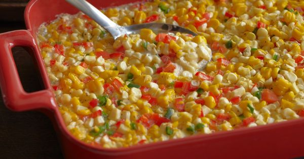 Fresh Corn Casserole with Red Bell Peppers and Jalapenos | Recipe