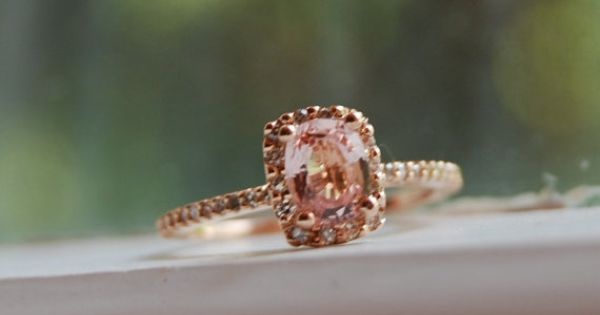 Cushion peach champagne sapphire engagement ring in 14k rose gold