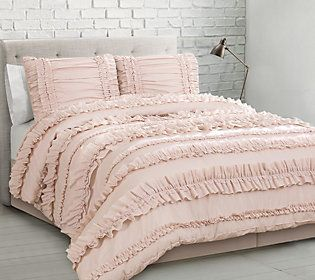 Belle 4 Piece Fl Qn Blush Comforter Set By Lushdecor Qvc Com Comforter Sets Dorm Bedding Sets Ruffle Comforter