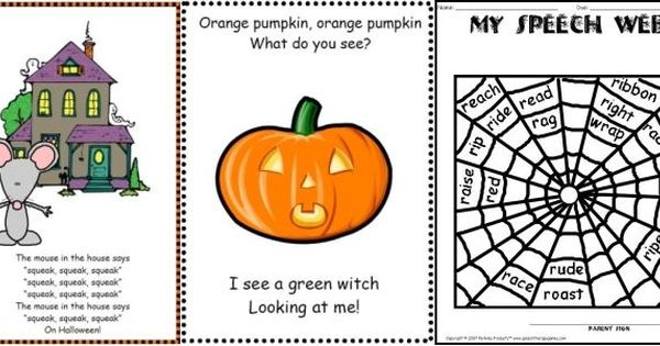 "halloweenspeechtherapygames----love the haunted house song booklet To the tune ""Wheels on the"
