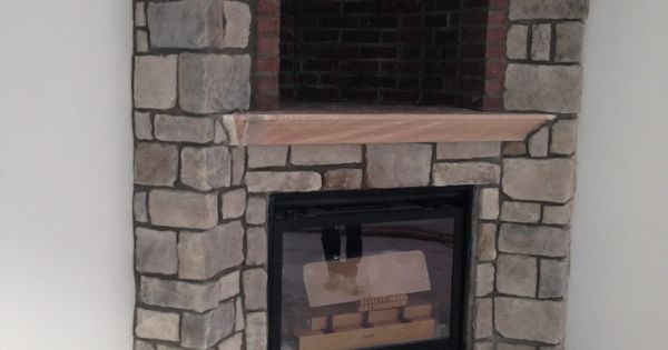 Stoned Fireplace With Brick Cove And Mantle Desert Tan