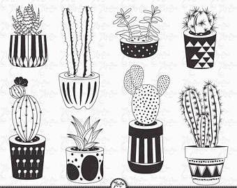 Cactus Clip Art Cactus Clipart Pack Succulent Etsy How To Draw Hands Clip Art Cactus
