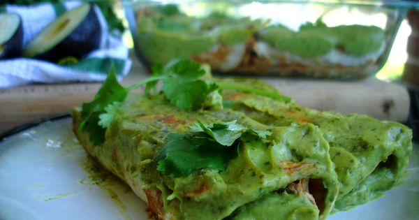 PALEO Pork Avocado Cream Enchiladas