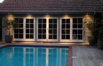 Replace Sliding Doors With French Doors Soffit Lights Too House Lighting Outdoor House Exterior Exterior Lighting