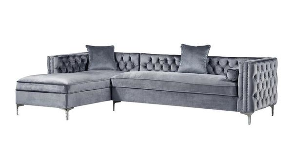 Inspired Home Inspired Home Olivia Velvet Modern Tufted Left Facing Chaise Sectional Sofa Grey Sl01 02gr Ls In 2020 Sectional Sofa With Chaise Sectional Sofa Inspired Homes