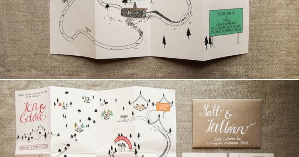Light and airy feminine wedding invitation, thank you card, and map. Pink