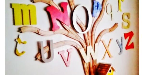 ABC wooden train track alphabet tree. Bedroom design. Grillo Designs. Kids Bedroom.