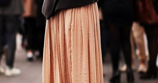 peach maxi + charcoal sweater.