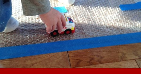 Make a Bubble Wrap Road! Easy, fun activity for truck loving toddlers!