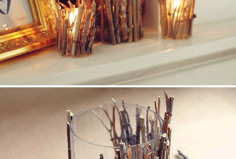 Twig tealight holder, this is a lovely idea which would look great