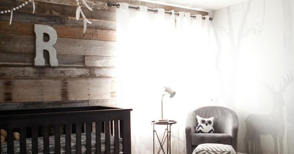 Modern Rustic Outdoor Inspired Nursery featuring a fab wood pallet wall -