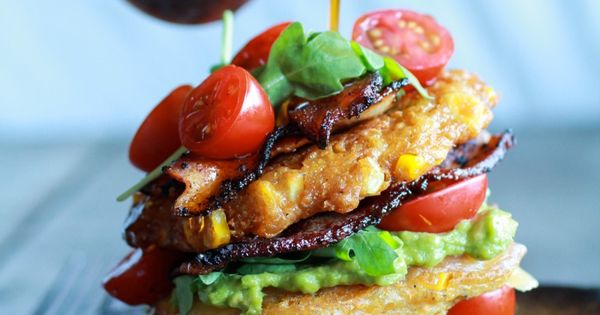 Avocado and Gouda BLT Corn Fritter Stacks with Chipotle ...