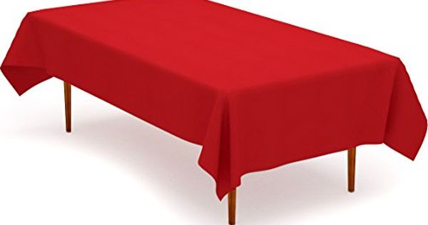 Tablecloth 60 X 102 Inch Red Tablecloth 100 Percent Polyester Rectangular Table Cover By Utopia Kitchen Rectangular Table Red Tablecloth Table Covers