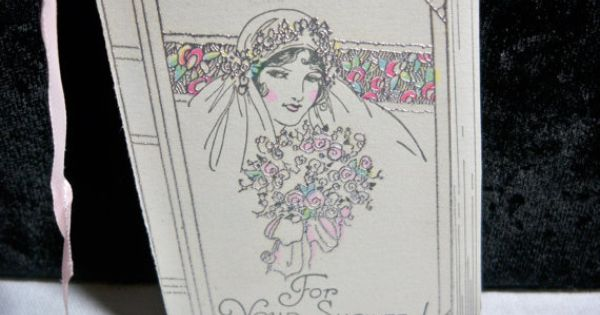 Art Deco Wedding Gift : Art Deco Wedding Shower gift card die cut hand colored silver gilded ...