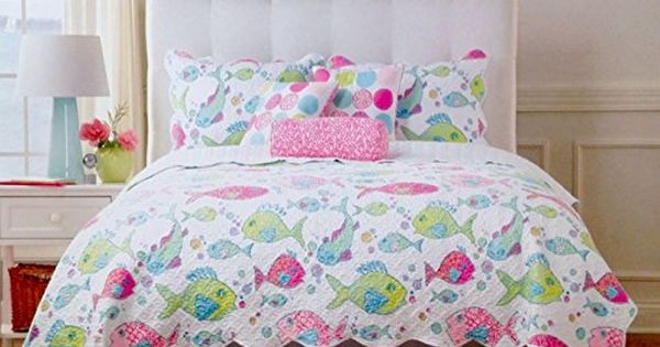 Cynthia Rowley 5pc Rainbow Tropical Fish Aqua Pink Green Quilt
