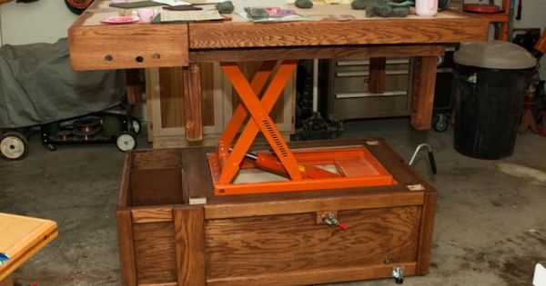 Very interesting, adjustable workbench / assembly table height ...