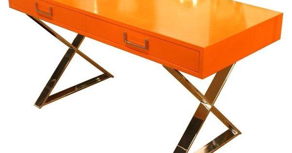 Milo baughman campaign desk console orange lacquereames for Muebles de oficina knol