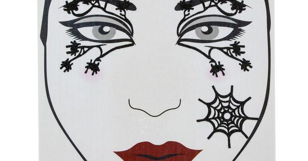 Set de tatouages araign es pour le visage maquillage d 39 halloween araign e rouge sorci re - Maquillage araignee visage ...
