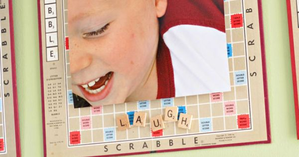 Use Old Scrabble Boards with Scrabble Tiles to caption and frame photos