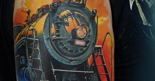 Steam train tattoo watercolor tattoos pinterest for Crazy train tattoos