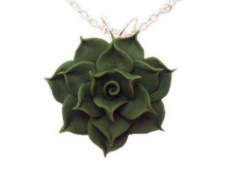 Polymer clay Succulent Green Botanical necklace Green Succulent pendant Polymer clay jewelry Succulent necklace Polymer clay necklace